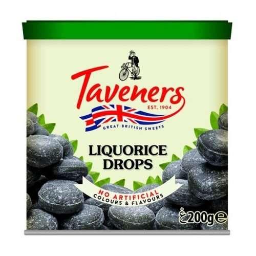 Taveners Liquorice Drops 200g tin