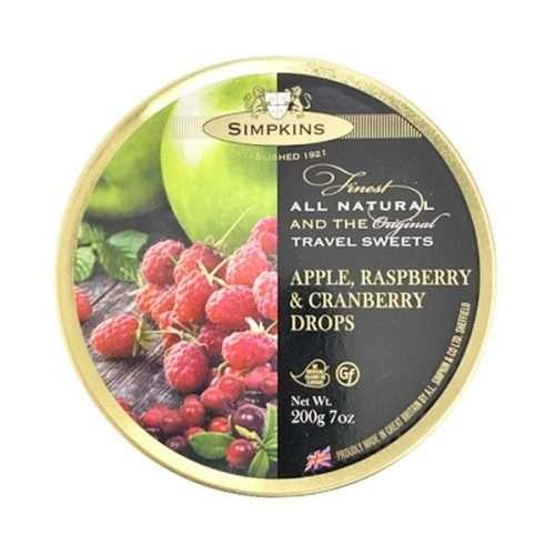 Simpkins Apple Raspberry & Cranberry Drops Travel Sweets 200g tin