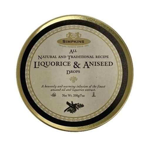 Simpkins Liquorice & Aniseed Drops Travel Sweets 200g tin