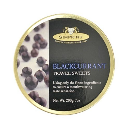 Simpkins Blackcurrant Travel Sweets 200g tin