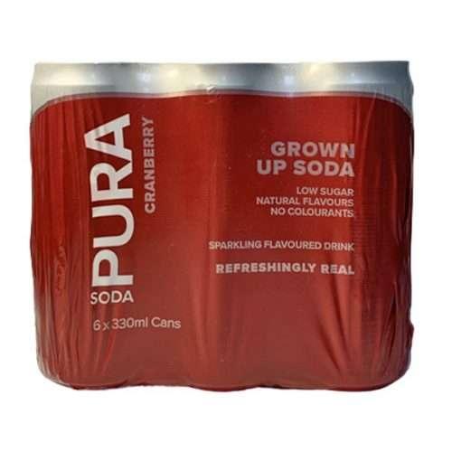 Pura Soda Cranberry 6 X 300ml cans