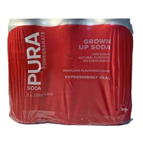 Pura Soda Pomegranate 6 X 300ml cans