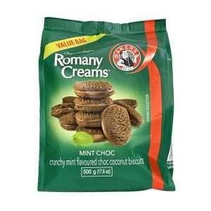Bakers Romany Creams Mint Choc 500g value bag